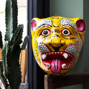 Indian Paper Maché Tiger Mask 'Yellow'