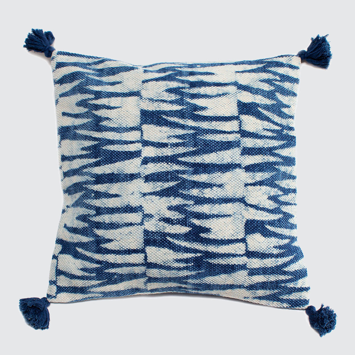 Indian Indigo Block Printed 45cm x 45cm Cushion Covers 'Tiger Stripes'
