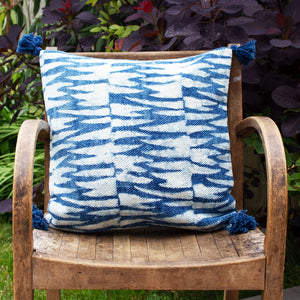 Indian Indigo Block Printed Cushion Covers 'Tiger Stripes'