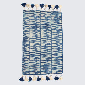 Indian Indigo Block Printed Tiger Stripes Rugs '2 x 3ft'