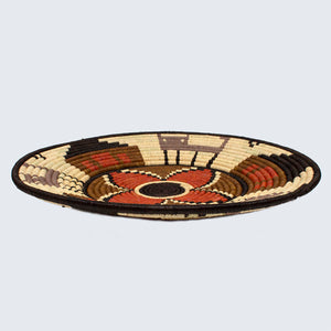 Uganda Craft Collection Basket 'Rust Flower Grey Cats and Houses'