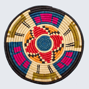 Uganda Craft Collection Basket 'Blue and Red Flower'