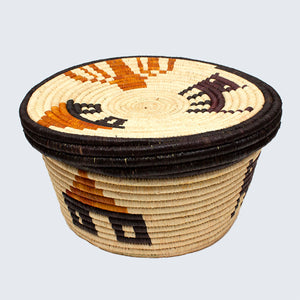 Uganda Craft Collection Lidded Pot 'Houses Cats and Trees'