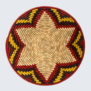 Uganda Craft Collection Basket Plate 50 'Yellow Flower'