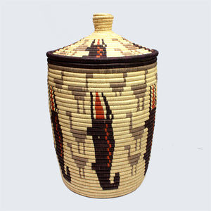 Uganda Craft Collection Lidded Basket 'Crocodiles and Birds'