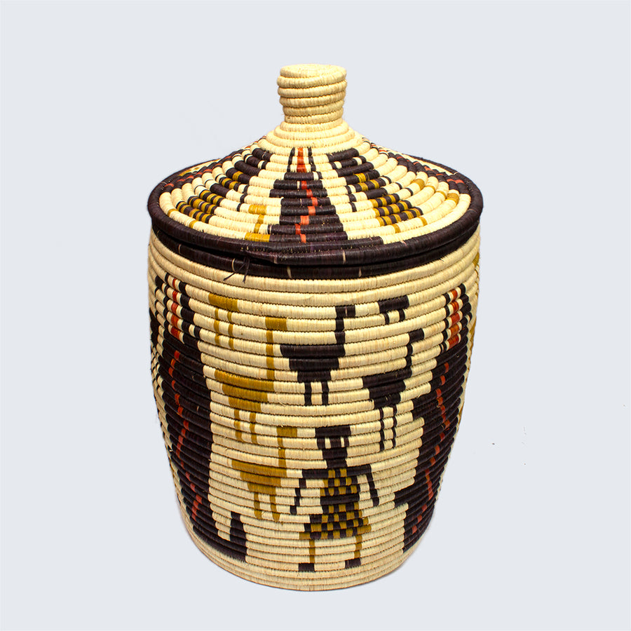Uganda Craft Collection Lidded Basket 'Houses, Birds and People'