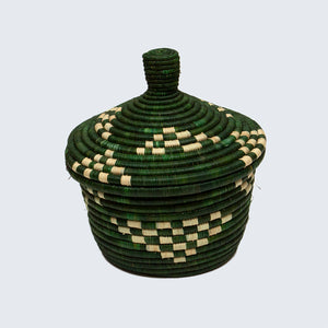 Uganda Craft Collection Small Lidded Pot With Coasters 'Leafy Green'