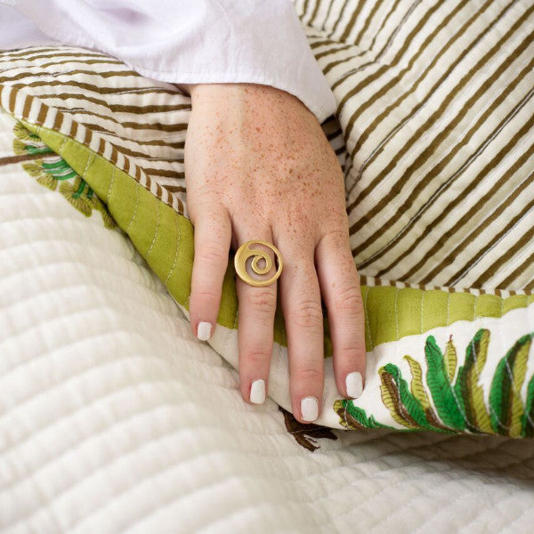 Artisans & Adventurers Hand Cast Ethical Recycled Brass Swirl Ring