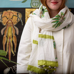 Indian Block Printed Scarf 'Palm tree'