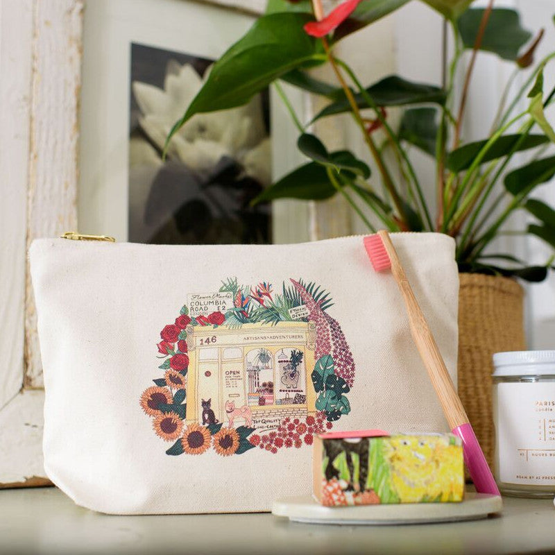 Artisans & Adventurers Columbia Road flower market cotton makeup bag pouch