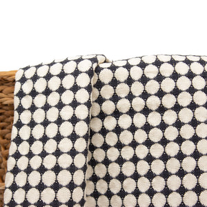 Tanzanian Hand woven Throw 'White Circles on Black'
