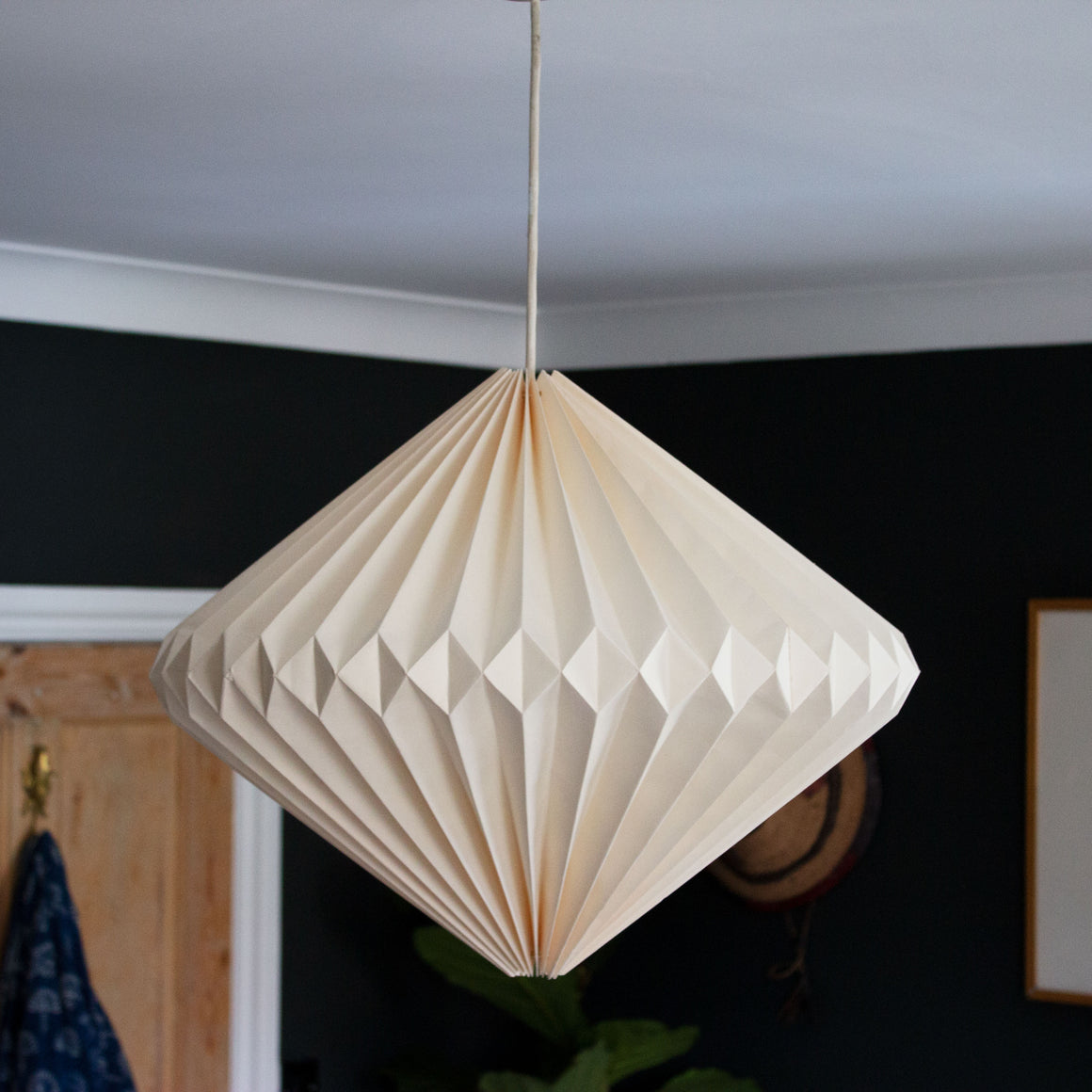 Indian Recycled Paper Diamond Light Shade 'Natural Calico'