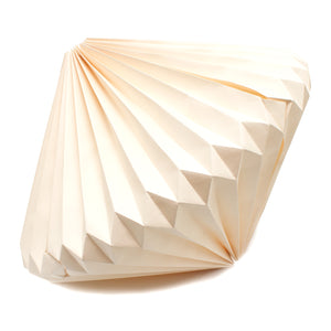 white recycled geometric paper lampshade handmade in India