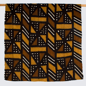 West African Bògòlanfini Mud Cloth 'Earth Tone Windmill'