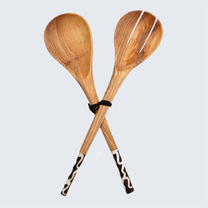Olive Wood & Bone Batik Salad Servers