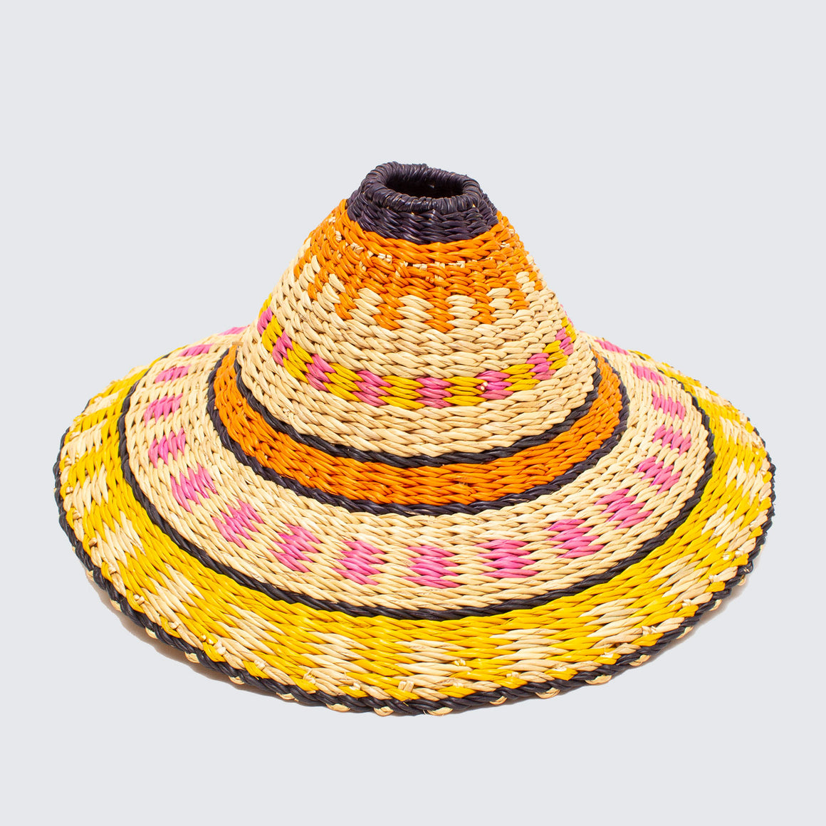 Ghanaian Hand Woven Fluted Light Shade 'Pink & Yellow'