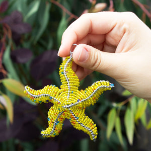 Zimbabwean Beaded Star Fish Decoration 'Yellow'