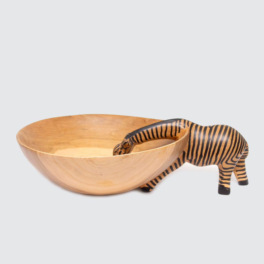 Olive Wood Zebra Drinking Bowl