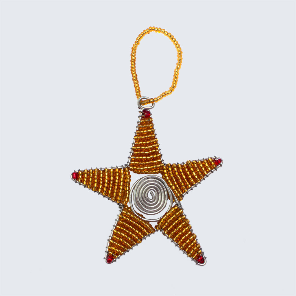 Zimbabwean Beaded Tree Decoration 'Bronze Star'