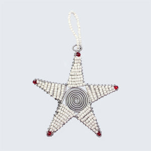 Zimbabwean Beaded Tree Decoration 'White Star'