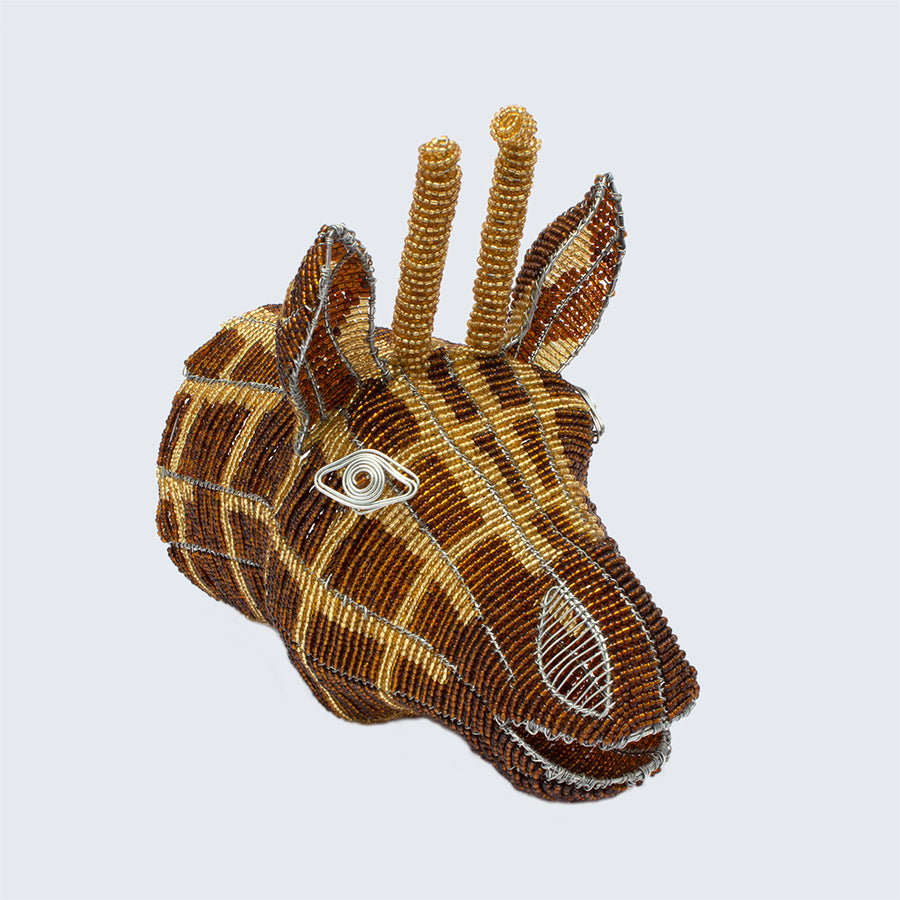 Zimbabwean Medium Beaded Wall Head Decoration 'Giraffe'