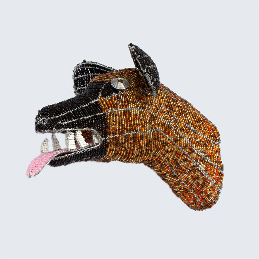 Zimbabwean Medium Beaded Wall Head Decoration 'Hyena'