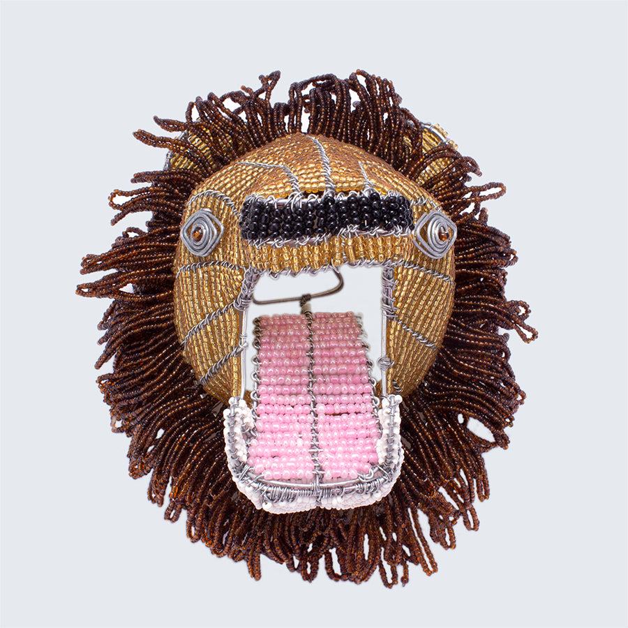 Zimbabwean Medium Beaded Wall Head Decoration 'Lion'