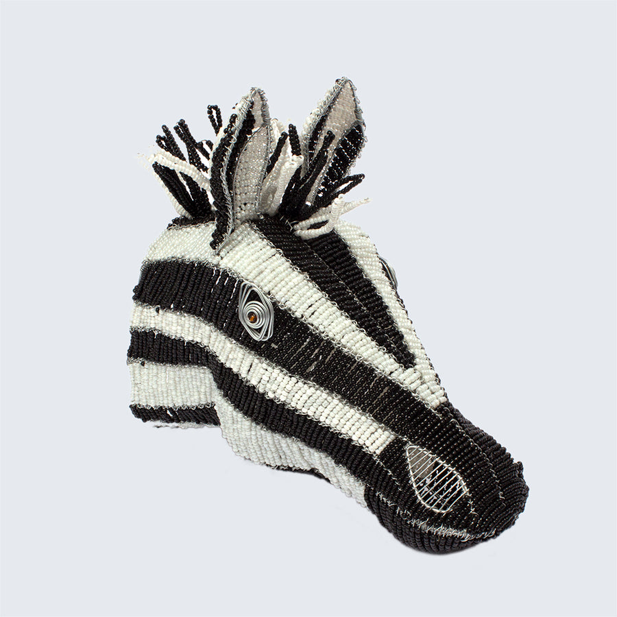 Zimbabwean Medium Beaded Wall Head Decoration 'Zebra'