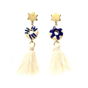 Artisans & Adventurers Iris Tassel hand painted statement earrings