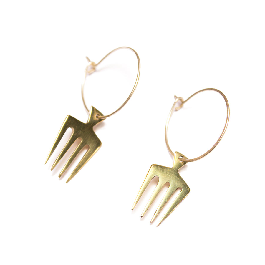 Comb Small Charm Hoop Earrings