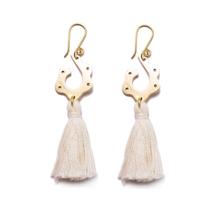 Artisans & Adventurers recycled brass and cotton tassel earrings. Ethical, sustainable and fair trade jewellery