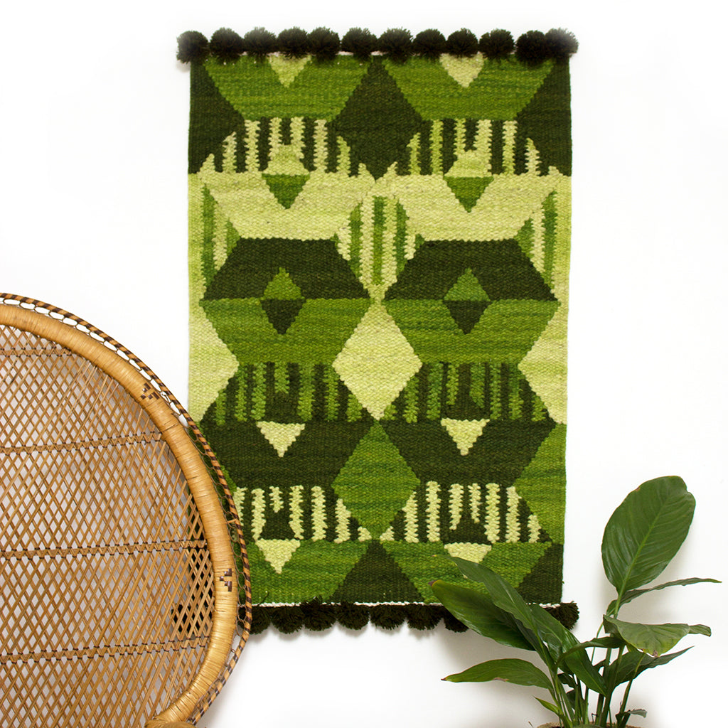 Woven Kenyan Wall Hanging/Rug 'Graphic Green'