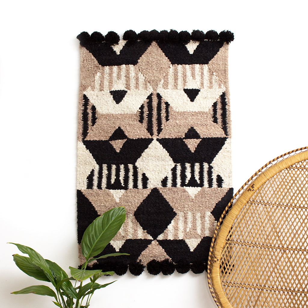 Woven Kenyan Wall Hanging/Rug 'Graphic Black'