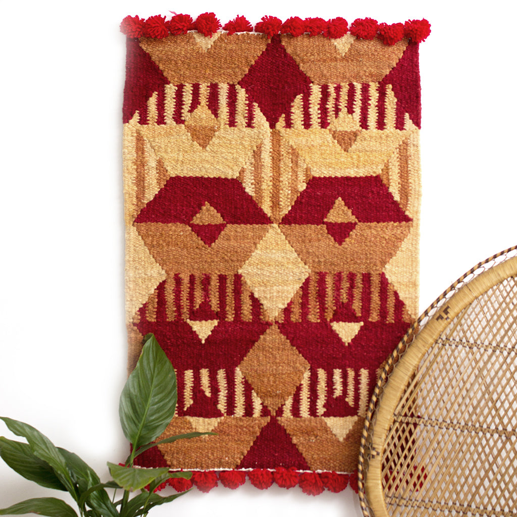 Woven Kenyan Wall Hanging/Rug 'Graphic Red'
