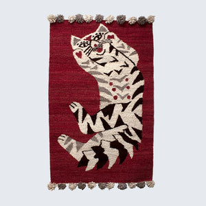 Woven Kenyan Wall Hanging/Rug 'Cat on Burgundy'