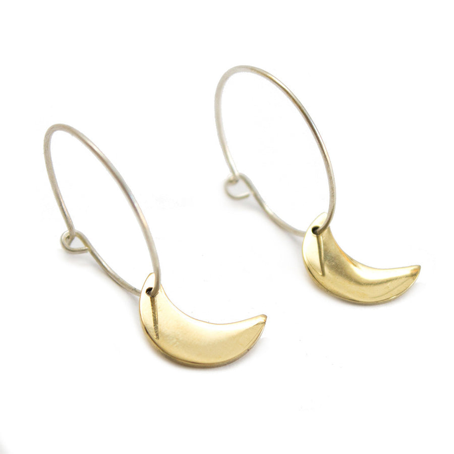 Crescent Moon Small Charm Hoop Earrings