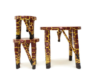 Wooden Hand Carved Giraffe Stool/Pot Stand 'Medium'