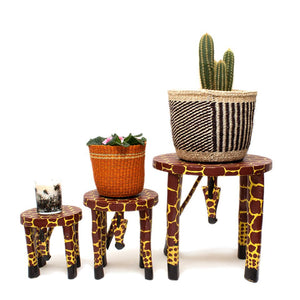 Wooden Hand Carved Giraffe Stool/Pot Stand 'Small'
