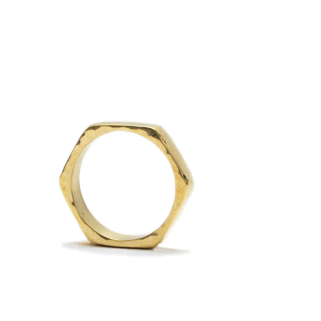 Signature Hexagon Hammered Brass Ring