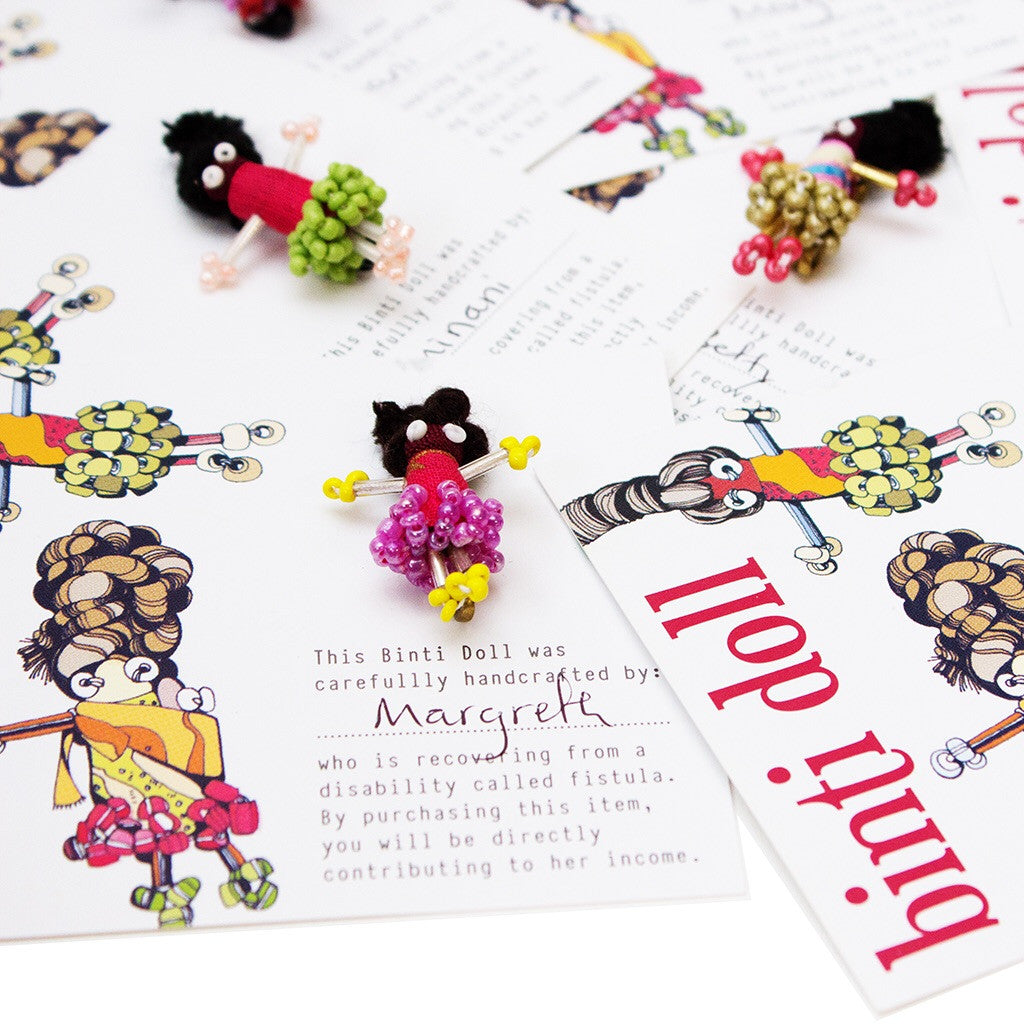 Artisans & Adventurers hand crafted binti doll colourful pin brooch