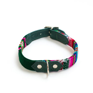 hiro and wolf designer dark green leather dog collar 'holly inca'