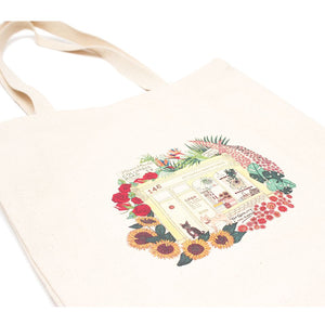 Artisans & Adventurers columbia road flower market reusable tote shopping bag made with fair trade cotton and ethical, sustainable vegetable dyes