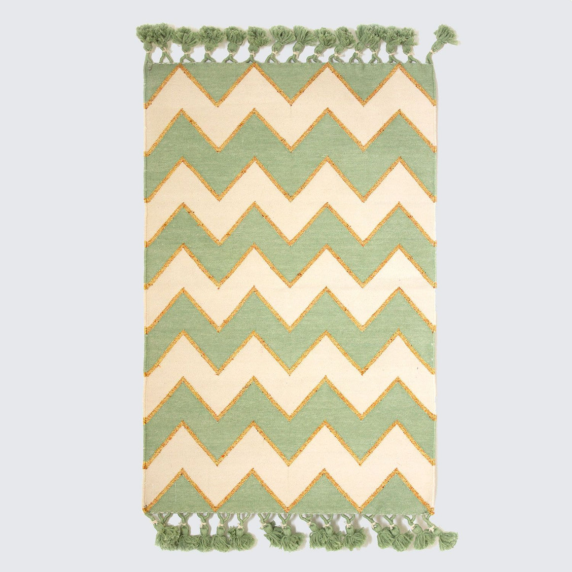 Indian Hand Woven Mint Zig Zag Rugs '90cm x 150cm'