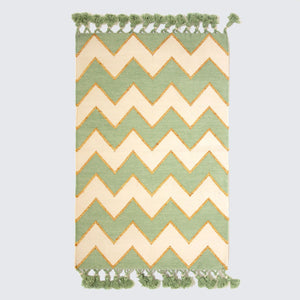 Indian Hand Woven Mint Zig Zag Rugs '150cm x 240cm'