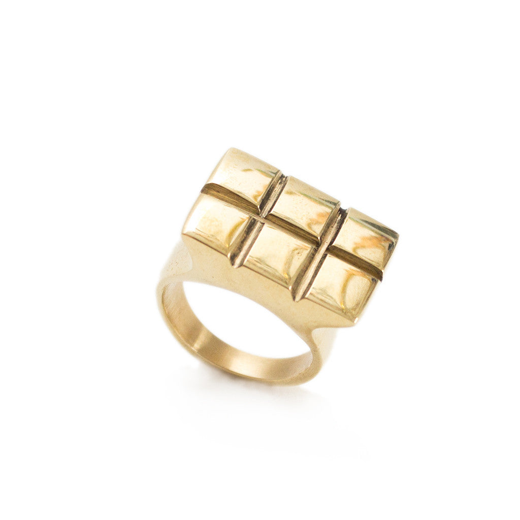 Satellite Square Ring Brass