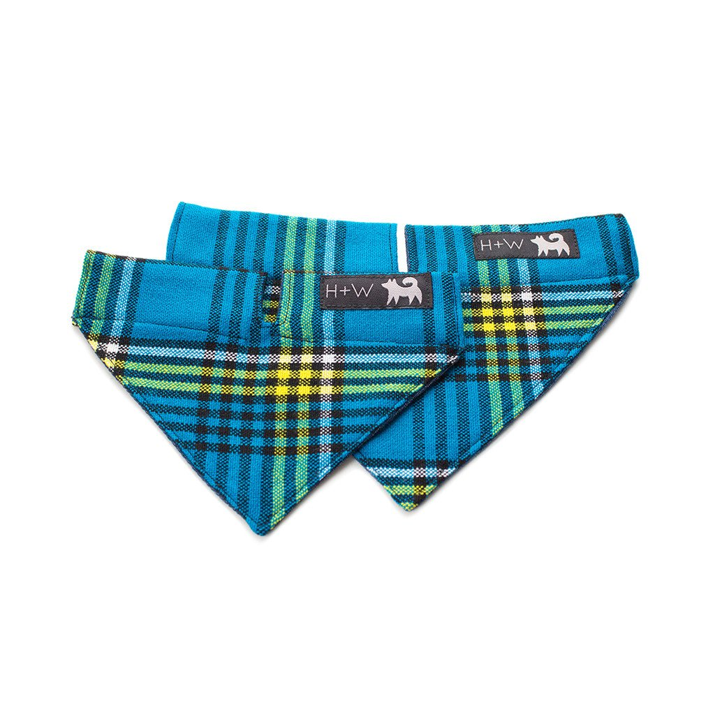 hiro and wolf blue tartan dog bandana
