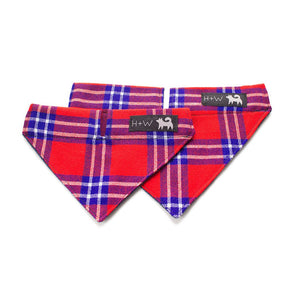 hiro and wolf red tartan dog bandana