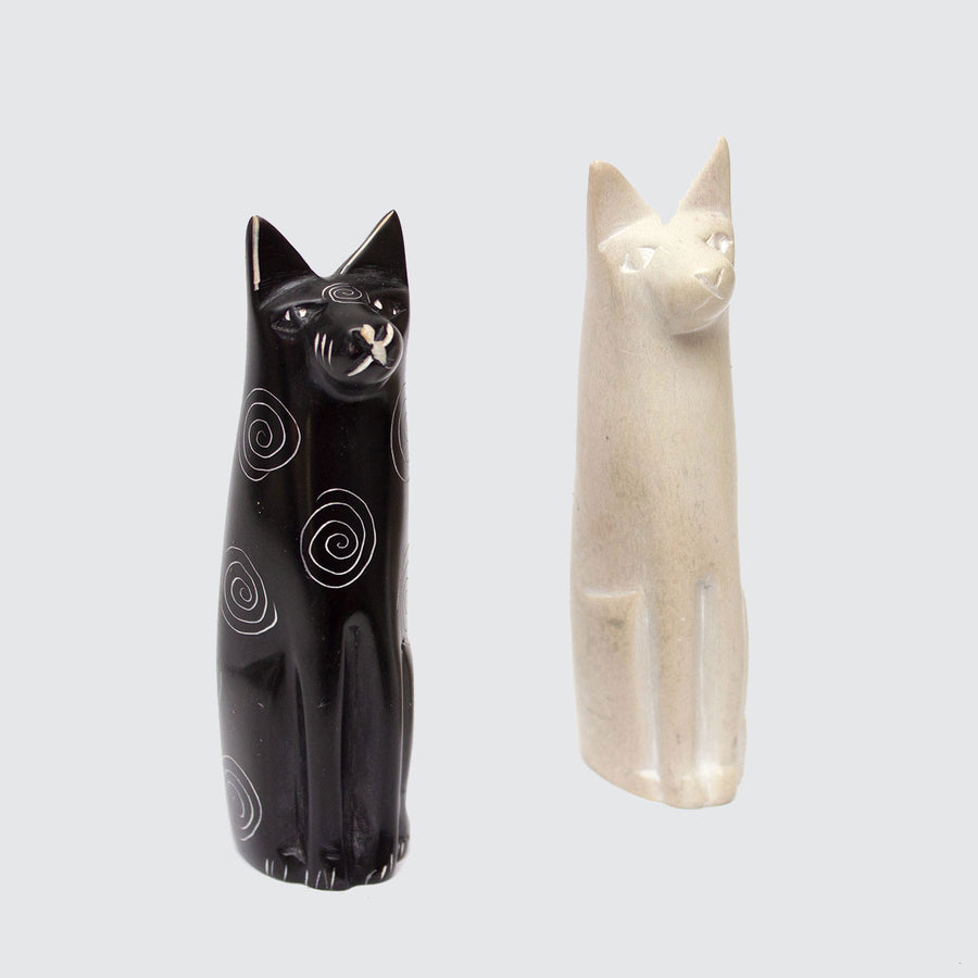 Soapstone Hand Carved Cats 'Black or Natural'