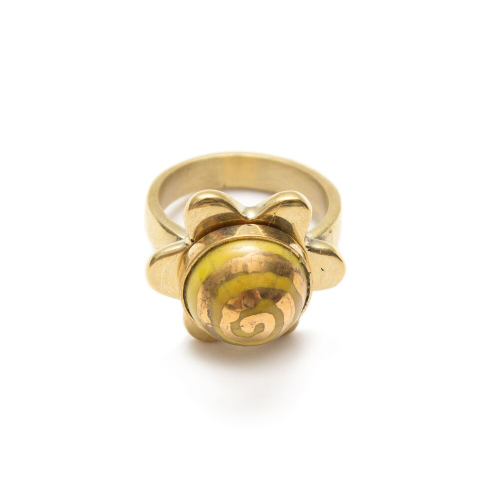 Artisans & Adventurers Solstice Ring Ethical Recycled Brass and Ceramic Jewellery