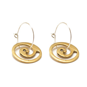 Artisans & Adventurers Swirl Hoop Earrings - ethically sourced, made with gold-toned recycled brass